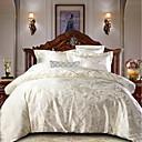 billige Luksuriøse dynetrekk-dynetrekk setter luksuriøs polyster jacquard / ultramyk sliver 4 stk sengetøy sett (1 dynetrekk, 1 flatt ark, 2 shams)