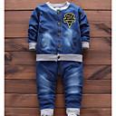 Χαμηλού Κόστους Σετ ρούχων για αγόρια-Νήπιο Αγορίστικα Βασικό Στάμπα Μακρυμάνικο Βαμβάκι Σετ Ρούχων Θαλασσί