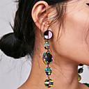 ราคาถูก ตุ้มหู-สำหรับผู้หญิง Drop Earrings ยาว มีความสุข สุภาพสตรี วินเทจ โบฮีเมียน เกาหลี ต่างหู เครื่องประดับ ฟ้า / สีชมพู / สีดำและสีขาว สำหรับ งานปาร์ตี้ / งานราตรี เป็นทางการ 1 คู่