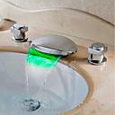 זול ברזים לחדר האמבטיה-חדר רחצה כיור ברז - מפל מים / LED כרום חורים צדדיים שתי ידיות שלושה חוריםBath Taps / Brass