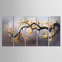 economico Quadri floreali-Hang-Dipinto ad olio Dipinta a mano - Floreale / Botanical Modern Include interno della montatura / Cinque Pannelli / Tela allungata