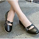 ราคาถูก รองเท้าแตะ & Flip-Flops ผู้หญิง-สำหรับผู้หญิง รองเท้าส้นเตี้ย ส้นแบน ปลายกลม PU ความสะดวกสบาย / แมรี่เจน ฤดูร้อนฤดูใบไม้ผลิ แดง / ฟ้า / สีชมพู