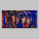 billige Abstrakte malerier-Hang malte oljemaleri Håndmalte - Mennesker Pop Kunst Klassisk Moderne Uten Indre Ramme / Valset lerret