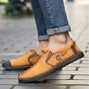 ราคาถูก รองเท้าแตะ & Loafersสำหรับผู้ชาย-สำหรับผู้ชาย รองเท้าหนัง ยาง / หนัง ฤดูร้อนฤดูใบไม้ผลิ รองเท้าส้นเตี้ยทำมาจากหนังและรองเท้าสวมแบบไม่มีเชือก ระบายอากาศ สีดำ / สีเหลือง / สีกากี / กลางแจ้ง / สไตล์อินเดียนแดง / รองเท้าขับขี่