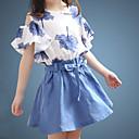 baratos Sandálias Femininas-Infantil Para Meninas Básico Sólido Floral Manga Curta Conjunto Azul