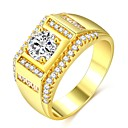 povoljno Svadbeni ukrasi-Muškarci Prsten Prsten obećanja 1pc Zlato 18K pozlaćeni mesing Imitacija dijamanta Klasik Moda Hip-hop Vjenčanje Angažman Jewelry Klasičan Sa stilom Pasijans dragocjen Cool