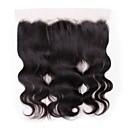 billige Hairextension med naturlig farge-Peruviansk hår 4X13 Lukking Bølget Sveitsisk blonde Ekte hår Dame Beste kvalitet / 100% Jomfru / Lace Closure Jul / Julegaver / Bryllup