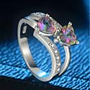 ราคาถูก แหวน-สำหรับผู้หญิง แหวน 1pc สีเงิน ทองแดง Platinum Plated แก้ว สุภาพสตรี อินเทรนด์ โรแมนติก งานแต่งงาน ของขวัญ เครื่องประดับ สไตล์ หินสองก้อน Sweet Heart Heart น่ารัก