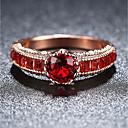 ราคาถูก แหวน-สำหรับผู้หญิง วงแหวน แหวนหมั้น ทับทิม Cubic Zirconia 1pc แดง เคลือบทองคำสีกุหลาบ Titanium Square วินเทจ สง่างาม งานแต่งงาน การหมั้น เครื่องประดับ สไตล์วินเทจ น่ารัก