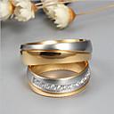 billige Ringer for Par-Par Parringer spinnring Kubisk Zirkonium 2pcs Gull Titanium Stål Titan Stål Rund damer Mote Elegant Bryllup Engasjement Smykker Tofargede Venskap