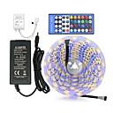 billiga LED-ljusslingor-zdm 5m 300 x 5050 smd 10mm rgb + vit rgb + varma vita led remsor ljus flexibel med 12v3a ström och ir 40key fjärrkontroll ljusremssats