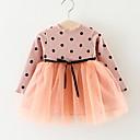 Χαμηλού Κόστους Φορέματα για κορίτσια-Μωρό Κοριτσίστικα Βασικό Καθημερινά Dusty Rose Πουά / Patchwork Με Κορδόνια / Patchwork Μακρυμάνικο Ως το Γόνατο Βαμβάκι Φόρεμα Μαύρο / Νήπιο