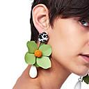 ราคาถูก ตุ้มหู-Drop Earrings ลวดลายดอกไม้ / เกี่ยวกับพฤษศาสตร์ Flower สุภาพสตรี แฟชั่น ต่างหู เครื่องประดับ แดง / สีเขียว / สีน้ำเงินกรมท่า สำหรับ ปาร์ตี้ เดท Street