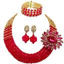 ราคาถูก ตุ้มหู-สำหรับผู้หญิง Strands Necklace หลายเลเยอร์ ช่าง MOON สุภาพสตรี แฟชั่น สง่างาม ออสเตรียคริสตัล ต่างหู เครื่องประดับ แดง / สีเขียว / สีชมพูสด สำหรับ งานแต่งงาน