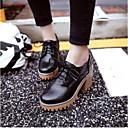 ราคาถูก รองเท้าOxfordผู้หญิง-สำหรับผู้หญิง รองเท้า Oxfords ส้นหนา PU ความสะดวกสบาย ฤดูร้อนฤดูใบไม้ผลิ ผ้าขนสัตว์สีธรรมชาติ / สีเทา / สีน้ำตาล / ทุกวัน