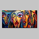 billige Abstrakte malerier-Hang malte oljemaleri Håndmalte - Mennesker Pop Kunst Moderne Uten Indre Ramme / Valset lerret