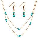 ราคาถูก สร้อยคอ-สำหรับผู้หญิง Turquoise Drop Earrings สร้อยคอจี้ หลายเลเยอร์ หล่น มะระ สุภาพสตรี ง่าย แฟชั่น สง่างาม ต่างหู เครื่องประดับ สีทอง / สีเงิน สำหรับ ของขวัญ งานราตรี