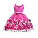 billiga Flickklänningar-Barn Småbarn Flickor Vintage Grundläggande Party Helgdag Enfärgad Spets Ärmlös Knälång Klänning Purpur / Bomull