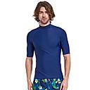 ราคาถูก ชุดดำน้ำ-SBART สำหรับผู้ชาย Rash Guard Rash Guard Swim shirt SPF50 การป้องกันรังสียูวี แห้งเร็ว แขนสั้น การดำน้ำ สีพื้น Spring, Fall, Winter, Summer / ยืด