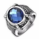 ราคาถูก สร้อยคอจี้-สำหรับผู้ชาย วงแหวน ไพลิน อะความาเนียมสังเคราะห์ 1pc ฟ้า Titanium Steel สแตนเลส รอบ Stylish ดีไซน์เฉพาะตัว วินเทจ วันเกิด ของขวัญ เครื่องประดับ เล่นไพ่คนเดียว รูปไข่ Creative เท่ห์
