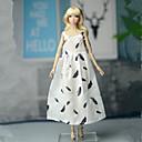 billiga Drinkware Tillbehör-Dollklänning Klänningar För Barbie Mode Kräm Elastisk satin Spets Bommulstyg Klänning För Flicka Dockleksak