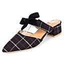 ราคาถูก รองเท้าClogs & Mulesสำหรับผู้หญิง-สำหรับผู้หญิง รองเท้าไม้ & รองเท้าหัวทู่ ส้นหนา Pointed Toe ปมผ้า หนังนิ่ม รองเท้าส้น ฤดูร้อนฤดูใบไม้ผลิ สีดำ / ผ้าขนสัตว์สีธรรมชาติ