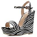 ราคาถูก รองเท้าแตะและรองเท้าโลฟเฟอร์สำหรับผู้หญิง-สำหรับผู้หญิง รองเท้าแตะ รองเท้าส้นตึก PU ความสะดวกสบาย ฤดูร้อนฤดูใบไม้ผลิ สีดำและสีขาว