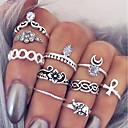 billige Fashion Rings-Dame Ring Set Midiringe Stable Ringer 10pcs Sølv Legering Sirkelformet damer Enkel Unikt design Daglig Stevnemøte Smykker Multi Layer Kors Blomst Søtt