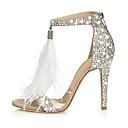ราคาถูก รองเท้าแต่งงาน-สำหรับผู้หญิง รองเท้าแตะ ส้น Stiletto เปิดนิ้ว หินประกาย PU ปั๊มพื้นฐาน ฤดูร้อน Almond / งานแต่งงาน / พรรคและเย็น / พรรคและเย็น