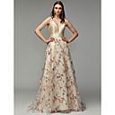 ราคาถูก ตุ้มหู-A-line Plunging Neckline ชายกระโปรงลากพื้น ออแกนซ่า / ซาติน ทางการ แต่งตัว กับ แพทเทิร์นหรือลายพิมพ์ / ดอกไม้ โดย TS Couture®