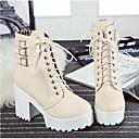 Χαμηλού Κόστους Γυναικείες Μπότες-Γυναικεία Μπότες Κοντόχοντρο Τακούνι Κλειστά Δάχτυλα PU Μπότες στη Μέση της Γάμπας Μοντέρνες μπότες Φθινόπωρο & Χειμώνας Μαύρο / Μπεζ / Καφέ