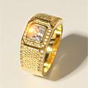Χαμηλού Κόστους Αντρικά Δαχτυλίδια-Ανδρικά Δαχτυλίδι 1pc Χρυσό Ορείχαλκος Προσομειωμένο διαμάντι 24K Gold Plated Πολυτέλεια Κλασσικό Μοντέρνα Γάμου Βραδινό Πάρτυ Κοσμήματα Κλασσικό Κομψό Radiant Cut Πολύτιμος Απίθανο