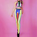 זול אקזוטי Dancewear-אקזוטי Dancewear האנפו / לבוש מועדונים / תלבושות מועדון בגדי ריקוד נשים הצגה ספנדקס קריסטלים / אבנים נוצצות ללא שרוולים גבוה אפוד / מכנסיים