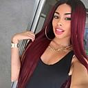 Χαμηλού Κόστους Εξτένσιος μαλλιών με φυσικό χρώμα-Συνθετικές Περούκες Ίσιο Μέσο μέρος Περούκα Μπορντώ Μακρύ Μαύρο / σκούρο κρασί Συνθετικά μαλλιά 24 inch Γυναικεία Ανθεκτικό στη Ζέστη Μαλλιά με ανταύγειες Μπορντώ