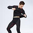 billiga Reborn-dockor-Nuckily Herr Lappverk T-shirt och byxor till jogging 2pcs Vinter Rund hals Yoga Fitness Träna Sportswear Rand Andningsfunktion Mjuk Kompression Svettavvisande Baslager Leggings Träningsdräkter