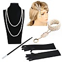 ราคาถูก ของประดับตกแต่งงานแต่งงาน-Great Gatsby ชาร์ลสตัน วินเทจ 1920s Roaring Twenties ชุดเครื่องประดับเครื่องแต่งกาย Flapper Headband สำหรับผู้หญิง เครื่องแต่งกาย ฮารด์แวร์ สร้อยคอไข่มุก Slave Bracelet ผู้ถือบุหรี่ / ถุงมือ / ถุงมือ