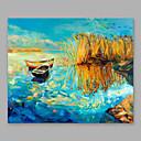 billige Abstrakte malerier-Hang malte oljemaleri Håndmalte - Landskap Moderne Inkluder indre ramme / Stretched Canvas