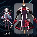 billiga Animekostymer-Inspirerad av SAO Swords Art Online Yuna Animé Cosplay-kostymer Japanska cosplay Suits Anime Klänning / Handskar / Strumpor Till Dam