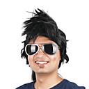billige Syntetiske parykker uden hætte-Syntetiske parykker Kostumeparykker Lige Bob frisure Paryk Kort Sort Syntetisk hår 14 inch Herre Cosplay Til europæisk Sort