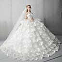 billiga Drinkware Tillbehör-Dollklänning Bröllop För Barbie Mjölkvit Tyll Spets Bomullsblandning Klänning För Flicka Dockleksak
