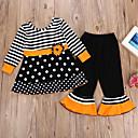 Χαμηλού Κόστους Σετ ρούχων για κορίτσια-Παιδιά Κοριτσίστικα Ενεργό Ριγέ Halloween Μακρυμάνικο Βαμβάκι Σετ Ρούχων Μαύρο