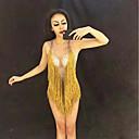 ราคาถูก ชุดออกกำลังกายและชุดโยคะ-เสื้อผ้าเต้นรำที่แปลกใหม่ บอดี้ Rhinestone / Nightcub Jumpsuits / เสื้อคลับ สำหรับผู้หญิง Performance สแปนเด็กซ์ พู่ / คริสตัล / พลอยเทียมต่างๆ เสื้อไม่มีแขน ชุดแนบเนื้อสำหรับการเต้น