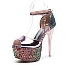 povoljno Ženske cipele s petom-Žene Cipele na petu Stiletto potpetica PU Udobne cipele / Lucite Heel Proljeće Zlato / Srebro / Pink / Dnevno