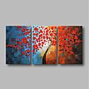 povoljno Apstraktno slikarstvo-Hang oslikana uljanim bojama Ručno oslikana - Sažetak Cvjetni / Botanički Comtemporary Uključi Unutarnji okvir / Tri plohe / Prošireni platno