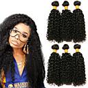hesapli Gerçek Saç Örgüleri-3 Paket Düz Brezilya Saçı Kinky Curly Gerçek Saç Başlık Uzatıcı Paketi Saç 8-28 inç Siyah Doğal Renk İnsan saç örgüleri Yumuşak İpeksi En iyi kalite İnsan Saç Uzantıları / 8A