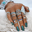 billige Fashion Rings-Par Ring Nail Finger Ring Midi Ring Turkis 18pcs Sølv Akryl Legering Geometrisk Form Statement damer Bohemsk Halloween Aftenselskap Smykker Retro Blad Formet Blomst Kul Smuk