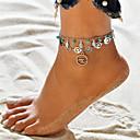 ราคาถูก ผ้าม่าน-สำหรับผู้หญิง Turquoise สร้อยข้อเท้า สร้อยข้อมือข้อเท้า เครื่องประดับเท้า หลายเลเยอร์ Yoga Leaf Shape คลื่น สุภาพสตรี รูปแบบแขวน โบฮีเมียน สร้อยข้อเท้า เครื่องประดับ สีเงิน สำหรับ ฮอลิเดย์ ไปเที่ยว