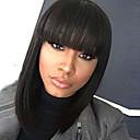 billiga Syntetiska peruker utan hätta-Syntetiska peruker Rak Kardashian Stil Bob-frisyr Utan lock Peruk Svart Svart Syntetiskt hår 12 tum Dam Dam / Afro-amerikansk peruk / Med Bangs Svart Peruk Medium längd