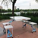 ราคาถูก บล็อกอาคาร-โต๊ะพับสำหรับตั้งแคมป์ที่มีสตูล Portable Lightweight ที่สามารถพับได้ ที่เก็บพับได้ อลูมิเนียมอัลลอยด์ 4 สตูล 1 ตาราง สำหรับ 3-4 คน ชายหาด แคมป์ปิ้ง เดินทาง BBQ ฤดูใบไม้ร่วง ฤดูใบไม้ผลิ สีเงิน