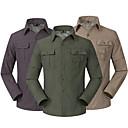 billige Skjorter-Herre Skjorte til turbruk Langermet Utendørs UV-bestandig Pustende Fort Tørring UV Beskyttelse Konverter til korte ermer Skjorte Topper Høst Vår Lin Militærgrønn Mørkegrå Kakifarget Camping